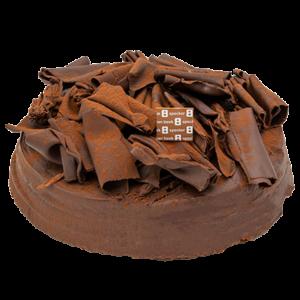 Chocoladetaart met krullen